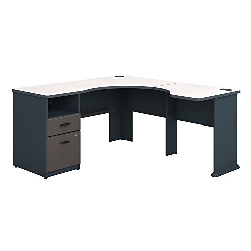 Bush Business Furniture Series A 60W L Shaped Corner Desk with 2 Drawer Pedestal and 30W Bridge in Slate and White (L-shaped Set Pedestal)