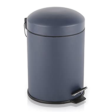 BINO Stainless Steel 1.3 Gallon / 5 Liter Round Step Trash Can, Matte Navy
