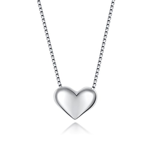 Fine Jewelry Sterling Silver Heart in Love Charm Pendant Necklace, 18 inches by SILVERLUXY