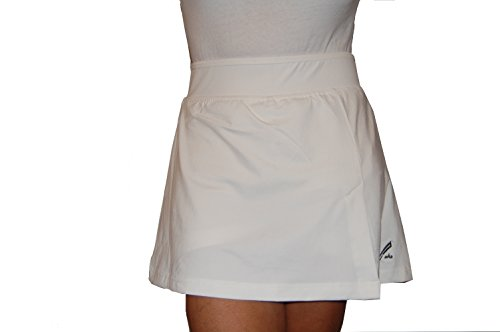 Maks Ladies Running Cycling Tennis Athletic Skirt Skort (27/28'' Waist, White) by Maks