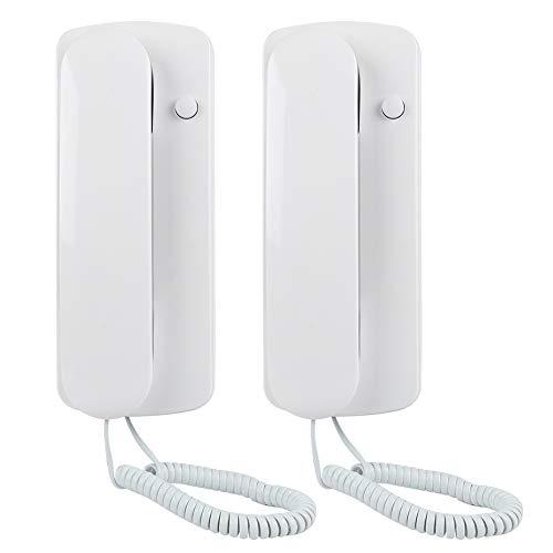 Two Way Intercom Doorphone,Wired Telephone Style Villa Home Office Non-Visual Interphone(White)