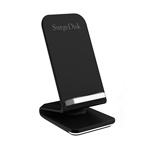 SurgeDisk Fast Wireless Charger New 2 Coils Sleep Friendly Cell Qi Universal Charging Pad Stand compatibility iPhone X iPhone 8+ 8 Samsung Galaxy S9 S9+ S8+ S8 S7 Edge Note 8 5 & All Qi No AC Adapter