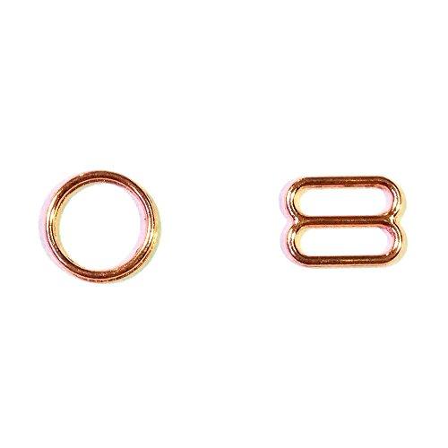 Gold Ring Slide - 200 pcs/lot Metal Lingerie Adjustment Strap Slides Hardware Sewing Clips Clasp Hooks for Bra STRP Rose Gold Color (10mm)