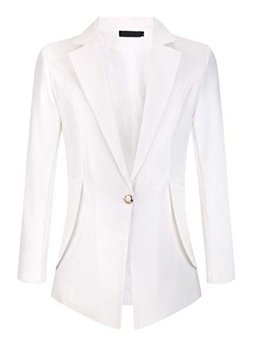 My Wonderful World Women's Slim Fit Notch Collar One Button Jacket Office Blazers White US 18 (tag Asian 7XL)