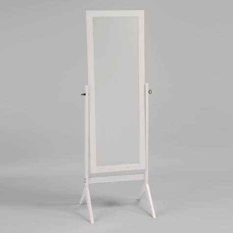 Four Bros Furniture | White Cheval Wooden Floor Mirror for Bedrooms | White Finish
