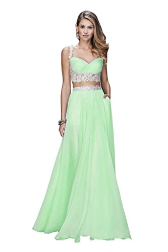 Da A Di 2016 Lace Evening Pizzo Abito Gown A Chiffon Reg; Piece Chiffon Prom Due Aurora line Aurora Sera A Bridal Pezzi Prom Abiti Reg line Two Sposa; Mintcream Dresses 2016 Mintcream 1qwCT