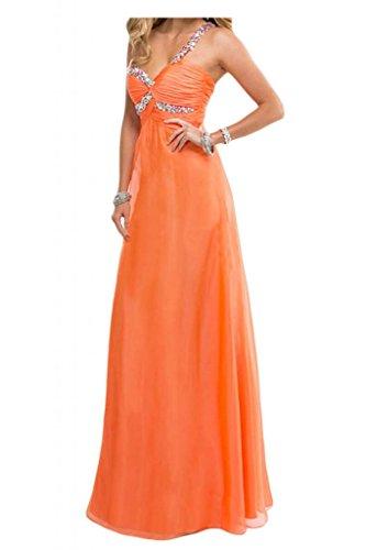 Toscana novia Dulcemente Imperio de la gasa vestidos de noche largo de dama de honor vestidos de noche de los vestidos de bola naranja