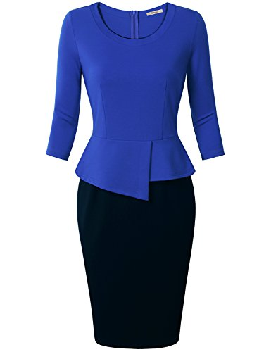 Dresses Work,Bebonnie Womens 3/4 Long Sleeves Peplum Knee Length Wear to Office Plus Size Ladies Fall Casual Bodycon Pencil Evening Sheath Suits Dresses Blue Black X-Large