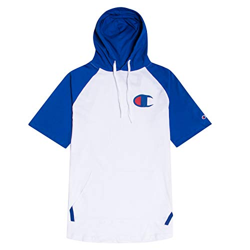 Champion Big and Tall Mens Short Sleeve Hoodie Raglan with Big C Chest Logo White/Royal 3X