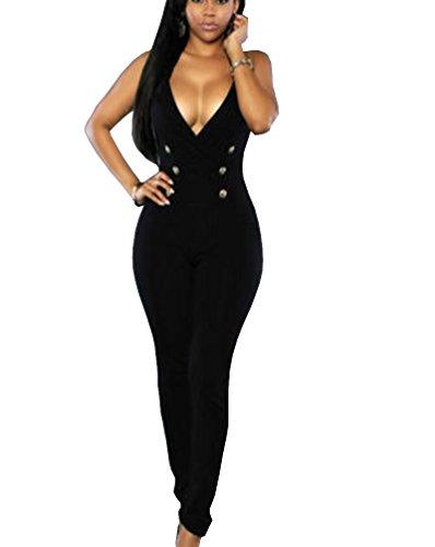 Tuesdays2 Womens Jumpsuits Elegant Button Long Leg Jumpsuits Romper  L  Black