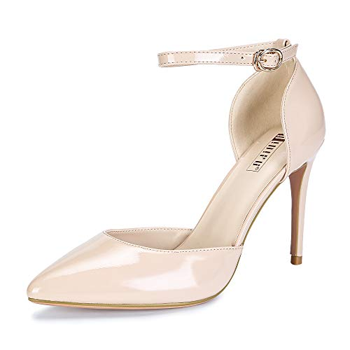 IDIFU Women's IN4 D'Orsay Alice Stiletto High Heel Ankle Strap Bridal Pump (Nude Patent, 8 B(M) (Buckled Patent Pumps)