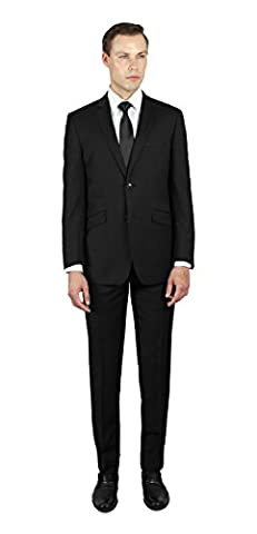 Alain Dupetit 100% Wool Men's Two Button Suit 44S Midnight-Navy-Blue - Button Fly Suit