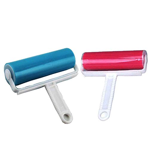 2Pcs Resuable Washable Lint Roller Cat Dog Hair Remover Tool Pet Shedding Brush Cleans your Suit/Sofa, Animal Hairs, Car Seats(Pink,Blue)