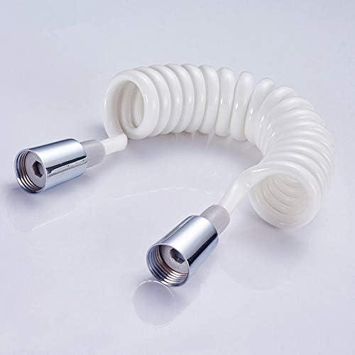 Capuchon en cuivre Douche Mousse Bidet T/élescopique Ressort Tuyau 1.5 m PVC Ressort Flexible R/étractable Tuyau De Douche T/ête De Douche Toilette Bidet-Blanc