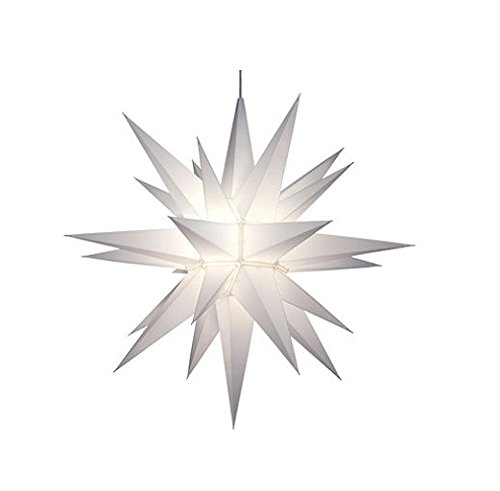 [21 Lighted 3-Dimensional White Moravian Star Hanging Christmas Decoration by Keystone (1)] (Lighted Bethlehem Star)