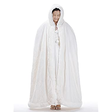 Remedios Ivory Full Length Birdal Wedding Hooded Cape Evening Party Wrap Poncho, L
