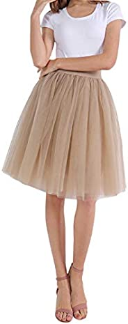 FEOYA Women Tutu Skirts 5 Layered Knee Length Tulle Skirt A-line Pleated Princess Skirts Evening Gown Prom Wed