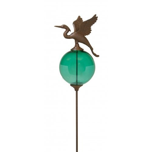 Large Egret Cast Iron Garden Stake with Glass Globe, 48-inch, Set of 2 Assorted, Outdoor by Garden Collection
