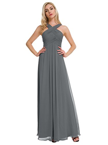 7f7627ba730 Alicepub Pleated Chiffon Bridesmaid Dresses Formal Party Evening Gown Maxi  Dress for Women