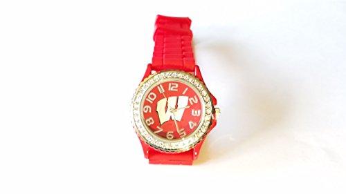 2017 Wisconsin Badgers Women, Silver/Red College-NCAA, Football-Basketball Logo Sport Watch - World Coupons Sunglass