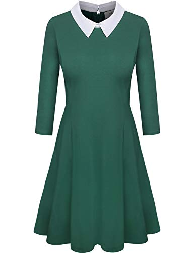Melynnco Womens 3/4 Sleeve Casual Dress Wear to Work with Peter Pan Collar for Party Green X-Large -