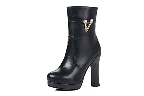 Penny Urethane Zipper High Loafer Boots Womens Solid Platform Black Heel BalaMasa ABL09685 5tqY8n04x