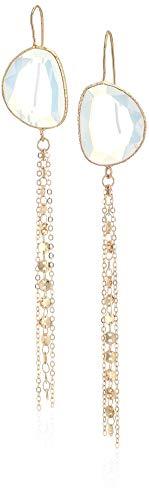 Panacea Organic White/Clear Stone Chain Earrings, One Size