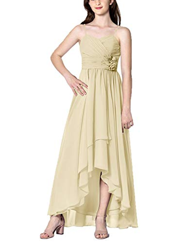 Cdress High Low Bridesmaid Dresses Chiffon Prom Party Dress Evening Formal Gowns Sweetheart Appliques Sleeveless US 0 Champagne