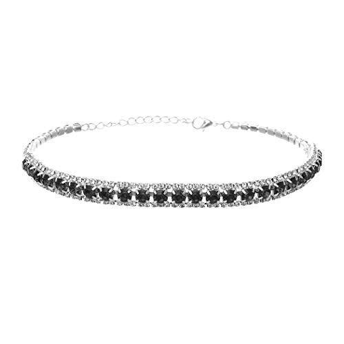 Silver Black Row Crystal Necklace - Rosemarie Collections Women's Triple Row Crystal Statement Choker Necklace (Black Diamond)