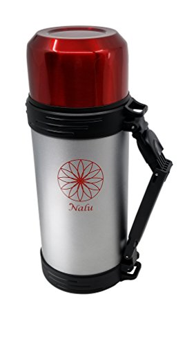 NALU Therm   36 Hour Hot + 72 Hour Cold   Large Stainless Steel Travel Thermos Bottle for Coffee, Tea, Water   Double Wall Vacuum Insulated   64 ounce (Bottles Oz 64 Six)