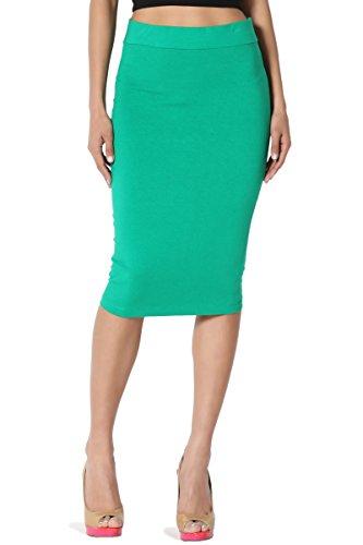 TheMogan Women's Stretch Cotton Elastic High Waist Pencil Midi Skirt Kelly Green S - Wear High Waisted Pencil Skirt