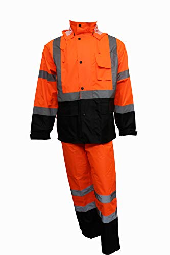 RK Safety RW-CLA3-OR33 Class 3 Rain suit, Jacket, Pants High Visibility Reflective Black Bottom (Large, Orange)