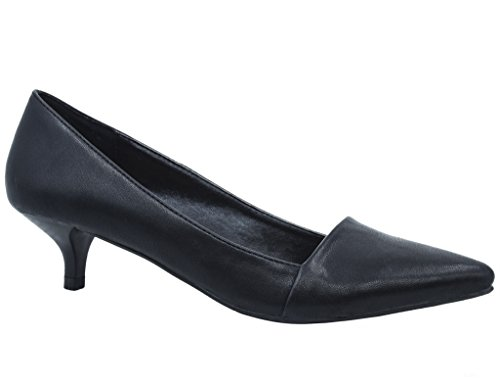 Greatonu Womens Katy Pointed Sexyd Kitten Low Heel Black PU Dressy Office Walking Pumps Court Shoes Size 8 US / 39 EU