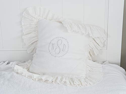 Monogrammed vintage font shabby chic pillows sham. Best gift ideas for women. Gorgeous French Vintage Scroll body pillow cover.