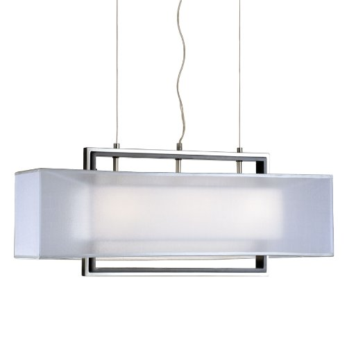 Nova Lighting 6348 Amarillo 2 Silver Large V2 Pendant, Brushed Nickel & Dark Brown Wood with Ghost White Shade