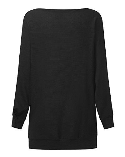 StyleDome Blouse Casual Haut Manches Femme Noir519974 Pull Epaule Sweater Nue Bateau Tops Col Longues rr7qRwC