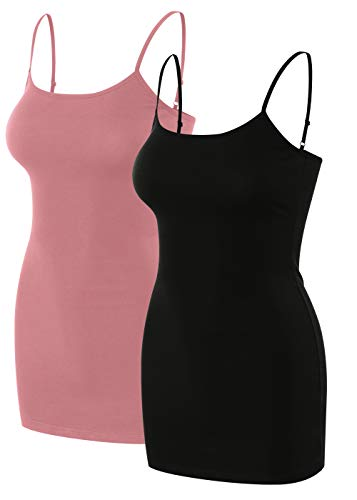 (sixth avenue 2 Pack Womens Basic Long Length Adjustable Spaghetti Strap Cami Tank Top Camisole (S~3XL) Black/Rose XL)