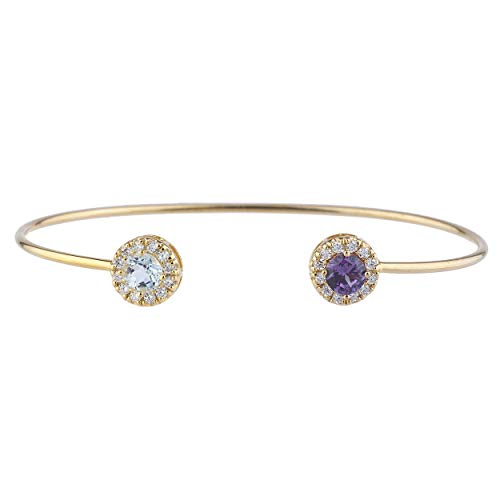 (Genuine Aquamarine & CZ Amethyst Halo Design Bangle Bracelet 14Kt Yellow Gold Rose Gold Silver)