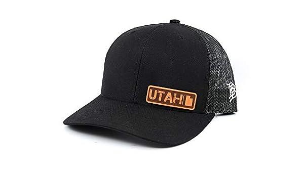 OSFA//Camo Branded Bills /'Utah Native Leather Patch Hat