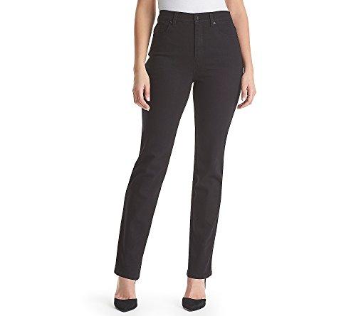 (Gloria Vanderbilt Amanda Embroidered Pocket Straight Leg Jeans Black Rinse 6)