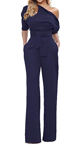 Grace Elbe Women's Wide Leg Slanted One Shoulder Belted Jumpsuits Navy Blue XX-Large