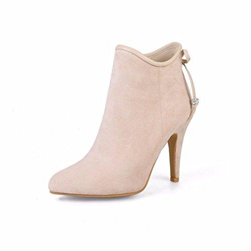 Otoño e Invierno decorativos metálicos afilados tacones tacon fino señoras elegantes botas cortas Apricot