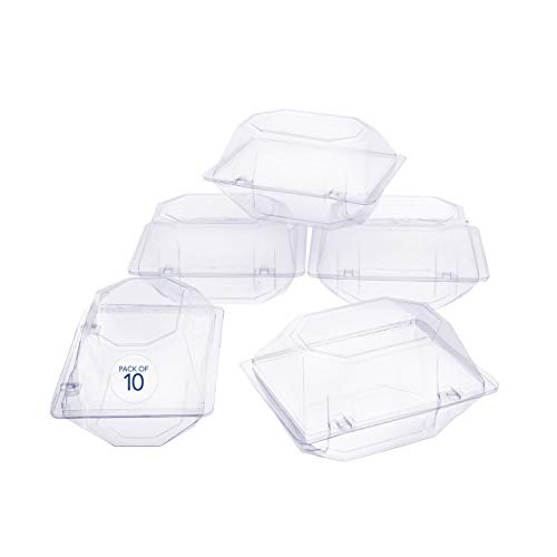 Royal Imports 10 Pack Clear Plastic Flower Box for Corsage, Boutonniere, Rose, Orchid Prom Wedding Craft Container 6x5x4
