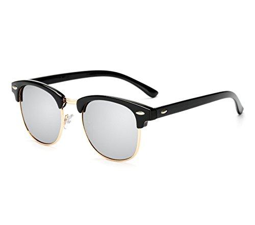 medios hombres UV400 de Plata Negro Gafas clásicos sol los marco medio hombres de del las retro de los polarizadas mujeres y de tw6wqZ