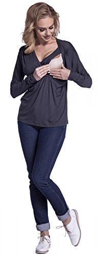 Happy Mama. Para Mujer Top Lactancia Escote de Pico Diseño de Doble Capa. 266p (Grafito, EU 46/50, )