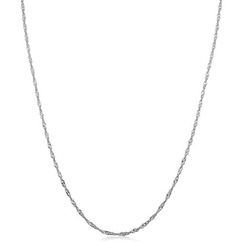 14k White Gold Singapore Chain Necklace (1.4mm, 18 inch)