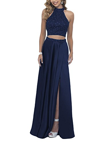 Scarisee Women's Two Pieces High Neck Halter Beaded Prom Evening Dresses Split Formal Wedding Party Gowns Long Navy Blue 18 - Dress Neck Beaded Split