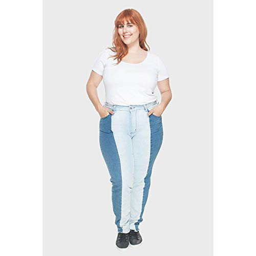 Calça Skinny Patchwork Plus Size Azul-46