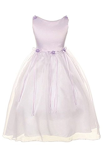 Satin Rosebuds Ribbon Flower Girls Organza Dress Christmas Wedding Lavender 2-14 -