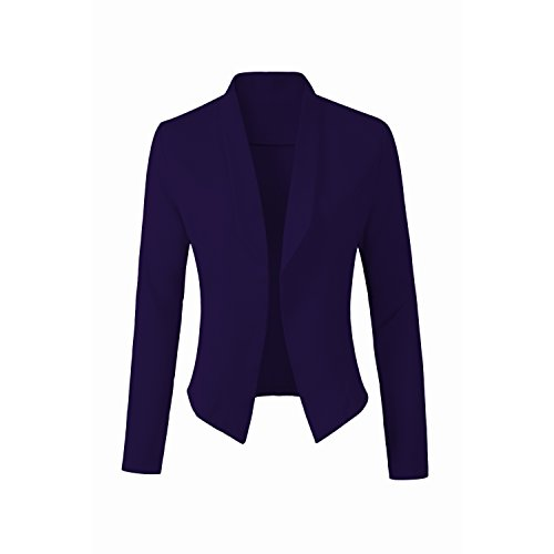 Polished Cotton Blazer (KUNN STAR Womens Blazer; Open-Front; Shawl-Collar)